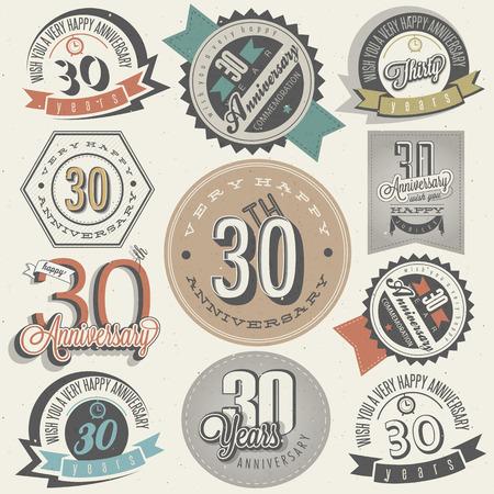 Vintage-Stil 30 Jubiläumskollektion Dreißig Jahrestag Design im Retro-Stil Vintage Aufkleber für Jubiläumsgruß Hand Schriftzug Stil typografische und kalligraphische Zeichen für 30 Jahrestag Illustration