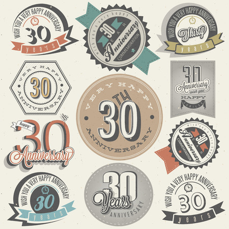 Vintage style 30 anniversary collection  Thirty anniversary design in retro style  Vintage labels for anniversary greeting  Hand lettering style typographic and calligraphic symbols for 30 anniversary  Vector