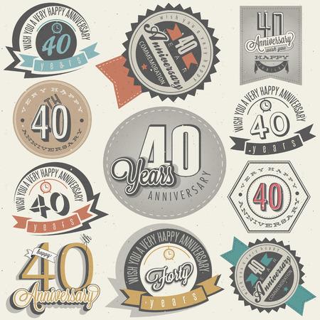 Estilo vintage colección 40 aniversario cuarenta aniversario en el diseño Vintage etiquetas de estilo retro para el estilo de las letras de la mano saludo aniversario símbolos tipográficos y caligráficos para el 40 aniversario
