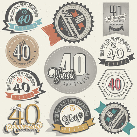 Vintage style 40 anniversary collection  Forty anniversary design in retro style  Vintage labels for anniversary greeting  Hand lettering style typographic and calligraphic symbols for 40 anniversary  Vector