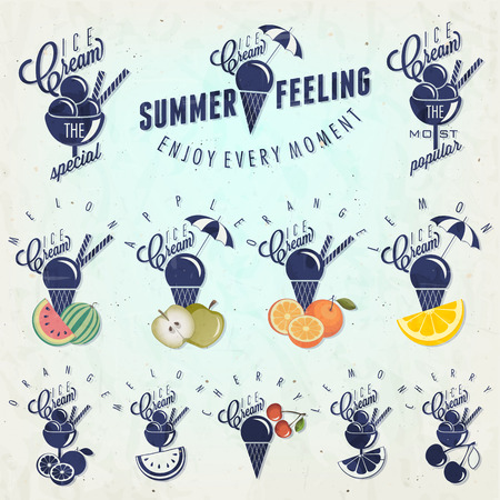 Retro vintage style Ice Cream design  Set of Calligraphic titles and symbols for Ice Cream type  Hand lettering style  Apple, Melon, Lemon, Orange and Cherry illustrations  Gelato  Vector