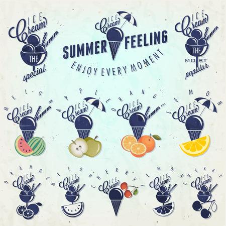 gelato: Retro vintage style Ice Cream design  Set of Calligraphic titles and symbols for Ice Cream type  Hand lettering style  Apple, Melon, Lemon, Orange and Cherry illustrations  Gelato  Illustration