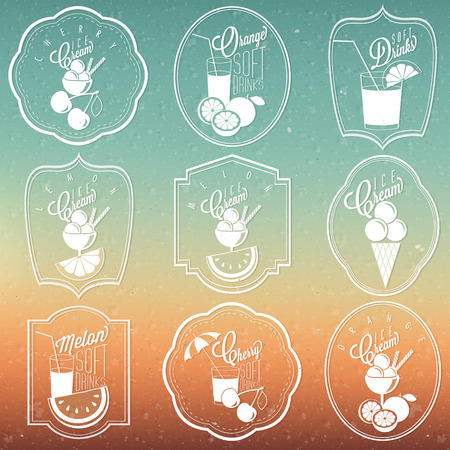 Retro vintage ornament collection for Ice Cream and Soft drinks  Set of Calligraphic titles and symbols for Ice Cream and Soft Drinks type  For Summer Holiday Party  Hand made style  Vector  Sun  Vector