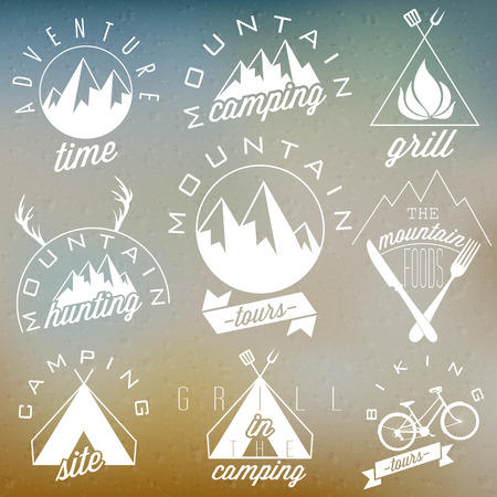 family hiking: Retro vintage style symbols for Mountain Expedition  Adventure, Mountain Camping, Mountain Hunting, Mountain Tour, Mountain Foods, Camping site, Camping Grill, Biking Tours  Mountain feeling  Vector