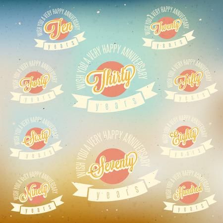 Jahrestag Schild-Sammlung und Karten-Design im Retro-Stil der Vorlage Jubiläum, Jubiläum oder Geburtstagskarte mit der Nummer editierbar Vintage vector Typografie Standard-Bild - 26579875