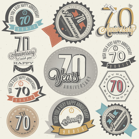 seventieth: Vintage style Seventy anniversary collection  Retro Seventy anniversary design  Vintage labels for anniversary greeting  Hand lettering style typographic and calligraphic symbols for Seventieth