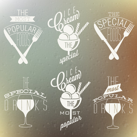 Retro vintage style foods and designs  Set of Calligraphic titles and symbols  Most Popular Drinks  Most Popular Foods  Most Popular Ice Cream  Special Foods  special Drinks  Fast food  Vector  Vector