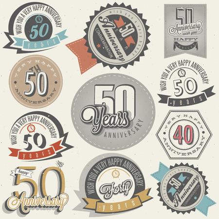 50 주년 기념 인사말 핸드 레터링 스타일의상의와 서예 기호에 대한 복고 스타일의 빈티지 레이블 빈티지 스타일의 50 주년 기념 컬렉션 쉰 주년 디자인 일러스트