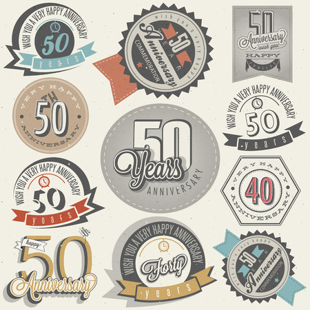 Vintage style 50 anniversary collection  Fifty anniversary design in retro style  Vintage labels for anniversary greeting  Hand lettering style typographic and calligraphic symbols for 50 anniversary   Vector