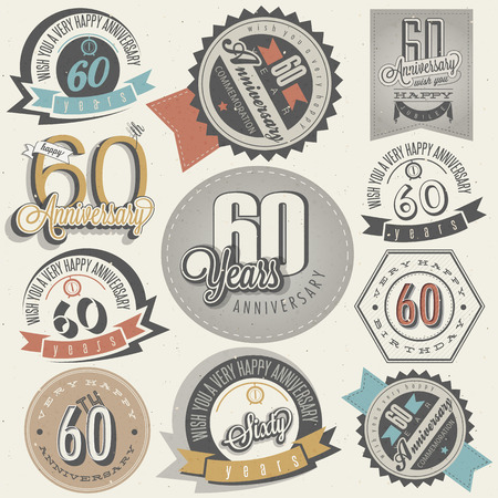 Vintage style 60th anniversary collection  Sixty anniversary design in retro style  Vintage labels for anniversary greeting  Hand lettering style typographic and calligraphic anniversary symbols  Vector