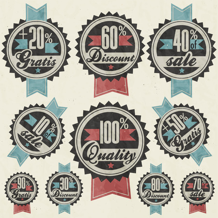 gratis: Retro vintage style big reductions signs collection and other promotion labels design  Gratis  Sale from ten to ninety percent OFF  Hundred percent quality label and percentages discount banners