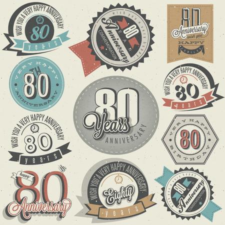 ochenta: Estilo vintage colecci�n 80 aniversario de dise�o ochenta aniversario en las etiquetas de la vendimia del estilo retro de estilo de las letras de la mano saludo aniversario s�mbolos tipogr�ficos y caligr�ficos de aniversario