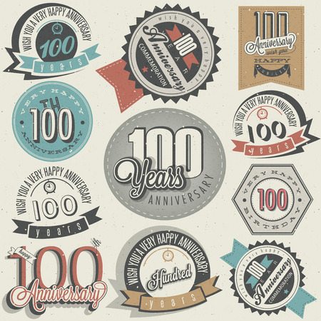 Vintage style One Hundred anniversary collection  Retro Hundred anniversary design  Vintage labels for anniversary greeting  Hand lettering style typographic and calligraphic symbols for Centenary