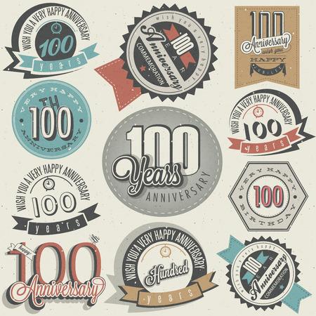 Vintage-Stil One Hundred Jubiläumskollektion Retro hundert Jahre Design Vintage Etiketten für Jubiläumsgruß Hand Schriftzug Stil typografische und kalligraphische Zeichen für Hundertjahrfeier Illustration