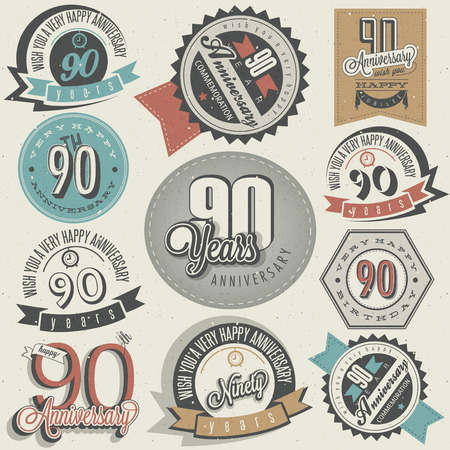 ninety: Vintage style ninetieth anniversary collection  Ninety anniversary design in retro style  Vintage labels for anniversary greeting  Hand lettering style typographic and calligraphic design elements