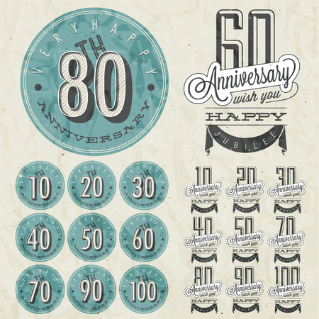 a digit: Anniversary sign collection and cards design in retro style  Template of anniversary, jubilee or birthday card with number editable  Vintage vector typography   Illustration
