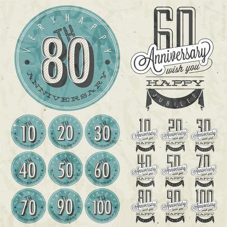cyfra: Rocznica podpisania gromadzenia i karty szablonu projektu w stylu retro z okazji rocznicy, jubileuszu lub karta urodzinowa z numerem edycji Vintage wektora typografii Ilustracja