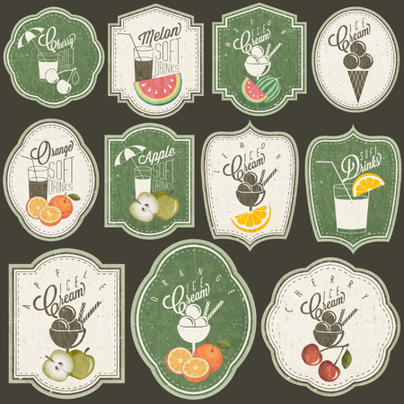 Retro vintage style Soft Drinks and Ice Creams design  Set of Calligraphic titles and symbols for Fruit design  Hand-drawn style  Orange, Melon, Apple and Cherry illustrations  Fruit Vintage Labels Vector