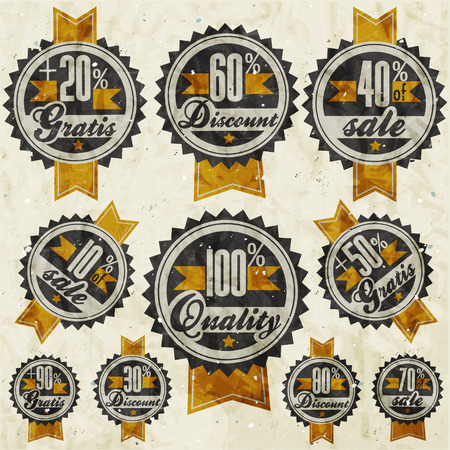ninety: Retro vintage style big reductions signs collection and other promotion labels design  Gratis  Sale from ten to ninety percent OFF  Hundred percent quality label and percentages discount banners