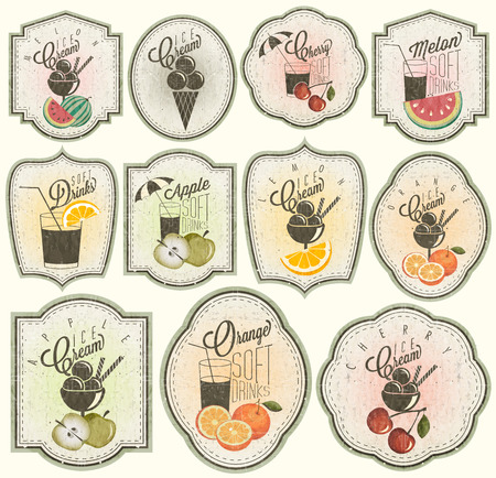 Retro vintage style Soft Drinks and Ice Creams design  Set of Calligraphic titles and symbols for Fruit design  Hand-drawn style  Orange, Melon, Apple and Cherry illustrations  Fruit Vintage Labels