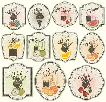 Style vintage rétro boissons gazeuses et crèmes glacées conception Ensemble de titres calligraphiques et symboles pour le style tiré par la main de conception de fruits orange, melon, pomme et cerise Illustrations d'étiquettes de fruits Vintage Vecteurs