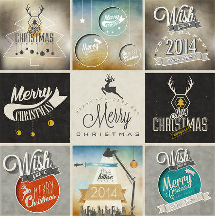 Christmas decoration collection for postcards and other Christmas design  Vintage style christmas typographic and calligraphic symbols for greeting cards design  Christmas and New Year backgrounds   Vector
