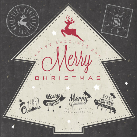 Christmas decoration collection for postcards and other Christmas design  Vintage style christmas typographic and calligraphic symbols for greeting cards design  Christmas and New Year stamp design  Vector