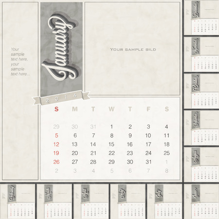 Monthly calendar template with free space for personalized picture and text design  Retro vintage style calendar design  Typographic and calligraphic monthly headline design  Vector