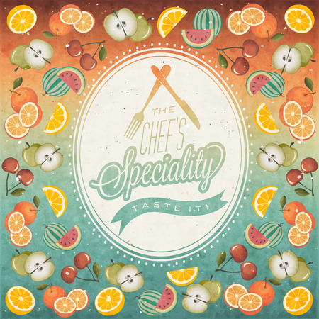 Retro vintage style restaurant menu background designs  Orange, Melon, Apple, Cherry and Lemon illustrations  Ice Cream  Typographic  Fast food  Vector  Menu pattern with Fruits  Collection