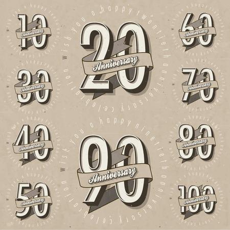 numero diez: Aniversario Colección de la muestra y las tarjetas de diseño en la plantilla de estilo retro de aniversario, jubileo o tarjeta de cumpleaños con el número editable tipografía vector vintage