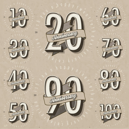 anniversary vintage: Anniversary sign collection and cards design in retro style  Template of anniversary, jubilee or birthday card with number editable  Vintage vector typography   Illustration