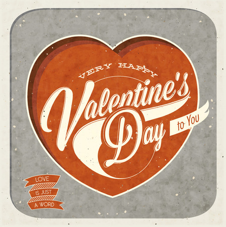 Happy Valentines Day  Retro Valentine s Day hand lettering  Vintage typographical background  Vector