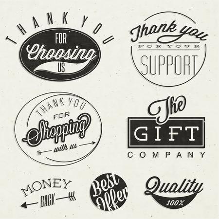 zeehonden: Dank u voor ons te kiezen, Dank u voor uw steun, Dank u voor het winkelen bij ons, Het geschenk bedrijf, en andere zakelijke slogans Retro vintage stijl typografische titels en symbolen