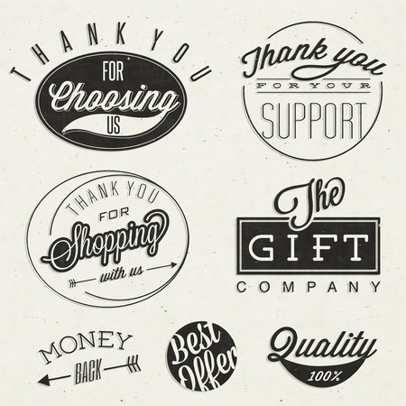 thank: Thank you for choosing us, Thank you for your support, Thank you for shopping with us, The gift company, and other business slogans  Retro vintage style typographic titles and symbols