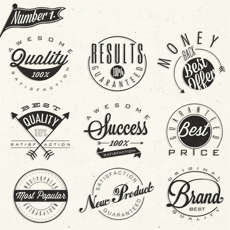new product: Set of symbols for Best Quality, Original Brand, New Product, Money Back and other business slogans  Retro vintage style typographic style  Hand lettering   Illustration