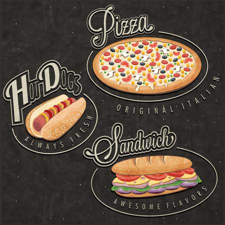 Retro-Vintage-Stil Fast-Food-Designs Set Kalli Titel und Symbole für Lebensmittel Hand Schriftzug Stil Pizza, Sandwich und Hot Dog realistische Abbildungen Old fashioned Fast-Food-Sammlung Illustration