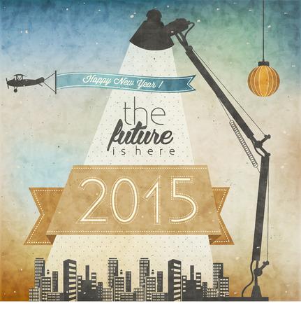 Vintage New Year s Eve-Karte Retro Cartoon-Stil Neujahrsgrüße Illustration Jahrgang Weihnachtspost Illustration New 2015 Jahre Grußkarte Frohes neues Jahr 2015