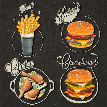 buns: Diseños de comida rápida de estilo vintage retro Juego de títulos y símbolos caligráficos para las patatas fritas estilo letras alimentos a mano, Hamburguesa, Hamburguesa con queso y el palillo ilustraciones realistas