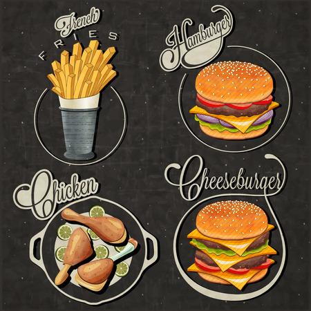 Retro-Vintage-Stil Fast-Food-Designs Set Kalli Titel und Symbole für Lebensmittel Hand Schriftzug Stil Französisch Fries, Hamburger, Cheeseburger und Drumstick realistische Abbildungen Illustration