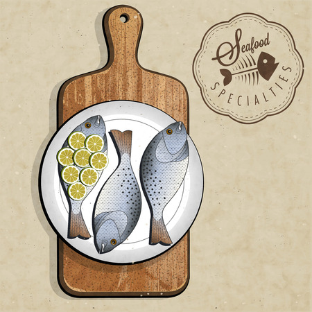 Retro vintage style Fish specialties with Cutting Board  Realistic fish and old cutting board illustration  Old fashioned pester   Vector