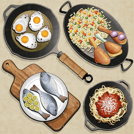 Rustic menu illustration  Retro, vintage style Chicken Thighs, Rice, Fried Eggs, Fish, Spaghetti, Frying Pan and one old Cutting Board realistic illustration  Old fashioned foods poster   Vector