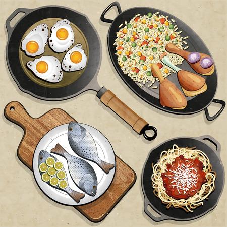 Rustieke menu illustratie Retro, vintage stijl Kippendijen, rijst, gebakken eieren, vis, Spaghetti, koekenpan en een oude snijplank realistische illustratie Ouderwetse voedsel poster