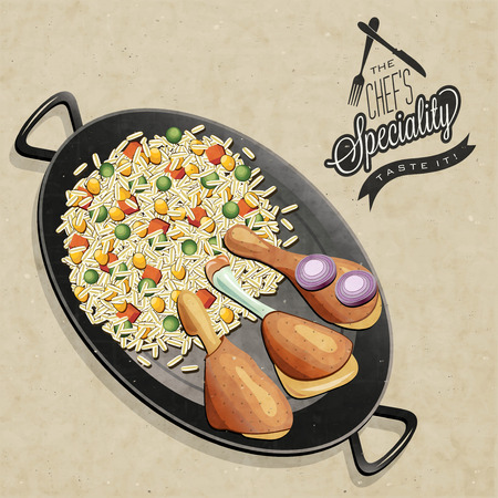 brown rice: Rustic menu illustration  Retro vintage style Chicken Thighs with Rice in one old Pan  The Chef Specialty  Realistic drumstick and rice food   Illustration