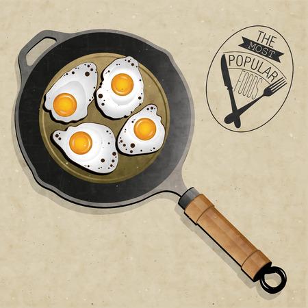 Retro-Vintage-Stil Fried Bratpfanne mit Eiern Die beliebtesten Speisen Realistische Pfanne erhitzen und Spiegeleier Abbildungen Standard-Bild - 26747121