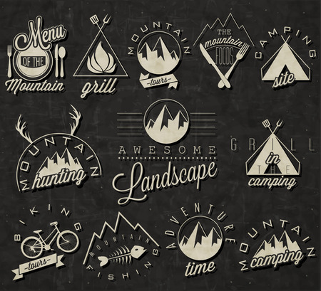 Retro vintage style symbols for Mountain Expedition  Adventure, Camping, Hunting, Tour, Foods, Camping site, Camping Grill, Biking Tours  Mountain feeling  Vector  Symbols for mountain background