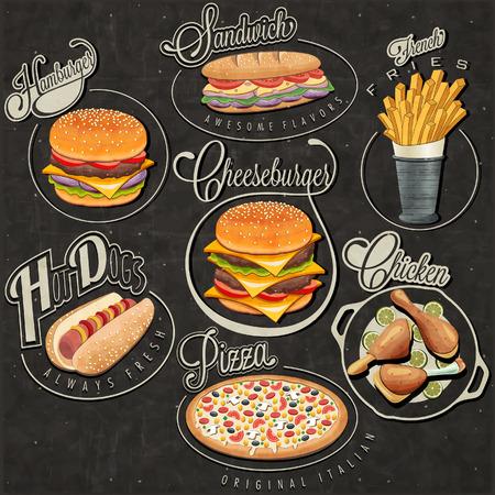 Diseños de comida rápida de estilo vintage retro Juego de títulos caligráficos y símbolos para alimentos Pizza, Sandwich, perrito caliente, patatas fritas, hamburguesas, hamburguesa con queso y Palillo ilustraciones realistas Ilustración de vector