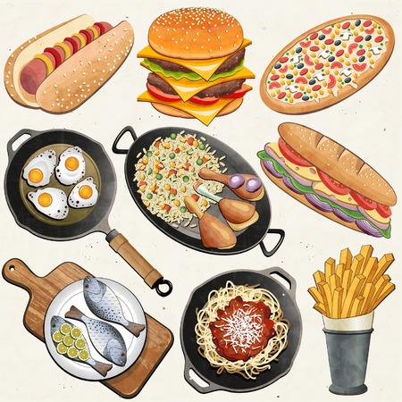 Retro, Vintage-Stil Hähnchenschenkel, Reis, gebratene Eier, Fisch, Spaghetti, Cheeseburger, Hot Dog, Französisch frites, Pizza, Sandwich, Bratpfanne und einem alten Schneidebrett realistische Darstellung