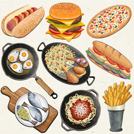 Retro, vintage style Chicken Thighs, Rice, Fried Eggs, Fish, Spaghetti, Cheeseburger, Hot Dog, French Fries, Pizza, Sandwich, Frying Pan and one old Cutting Board realistic illustration   Vector