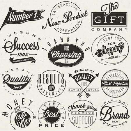 Set of symbols for Best Quality, Original Brand, New Product, Money Back  Thank you for choosing us, for your support, for shopping with us  Retro vintage style, hand lettering typographic symbols   Vector