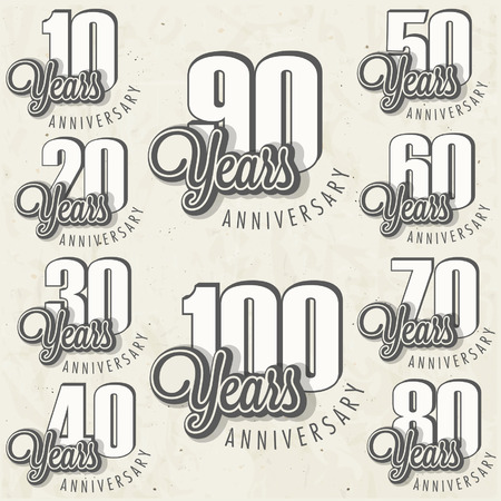 90: Anniversary sign collection and cards design in retro style  Template of anniversary, jubilee or birthday card with number editable  Vintage vector typography   Illustration